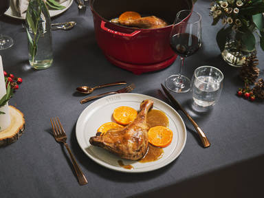 Braised goose legs with anise-mandarin sauce