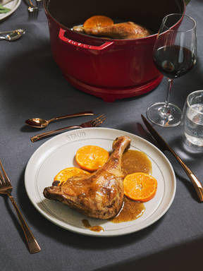 Braised goose legs with anise-mandarin sauce