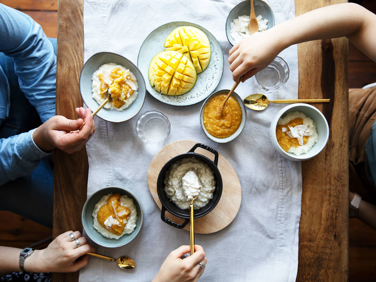 Paradise Calling: Coconut Rice Pudding with Mango Sauce