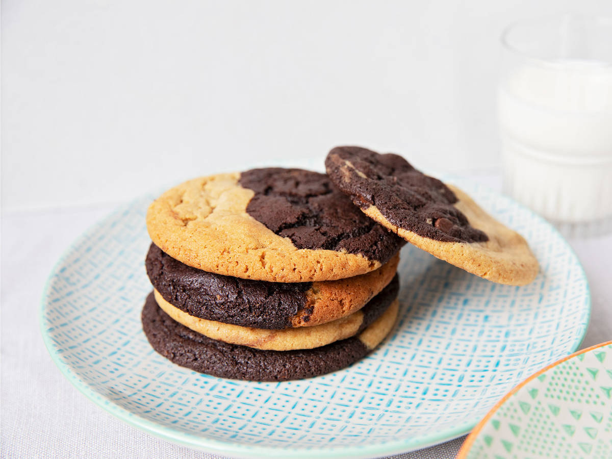 Half-and-half cookies with peanut butter