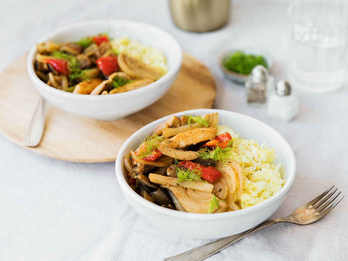 Chicken with fennel, eggplant, and turmeric-scented rice