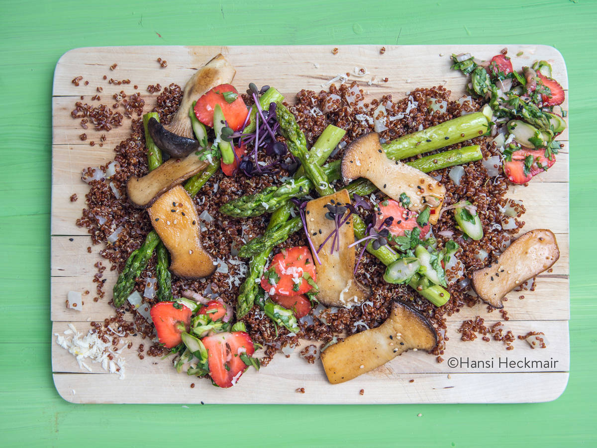 Quinoa salad with king oyster mushrooms, asparagus, and strawberries