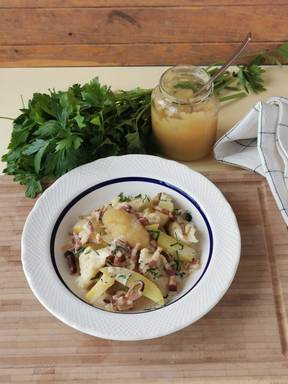 Verheiratete (German Potato Dish with Flour Dumplings, Bacon, and Applesauce)