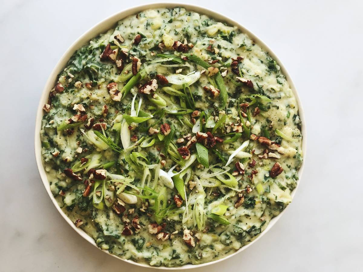 Veganes cremiges Kartoffelpüree mit Grünkohl