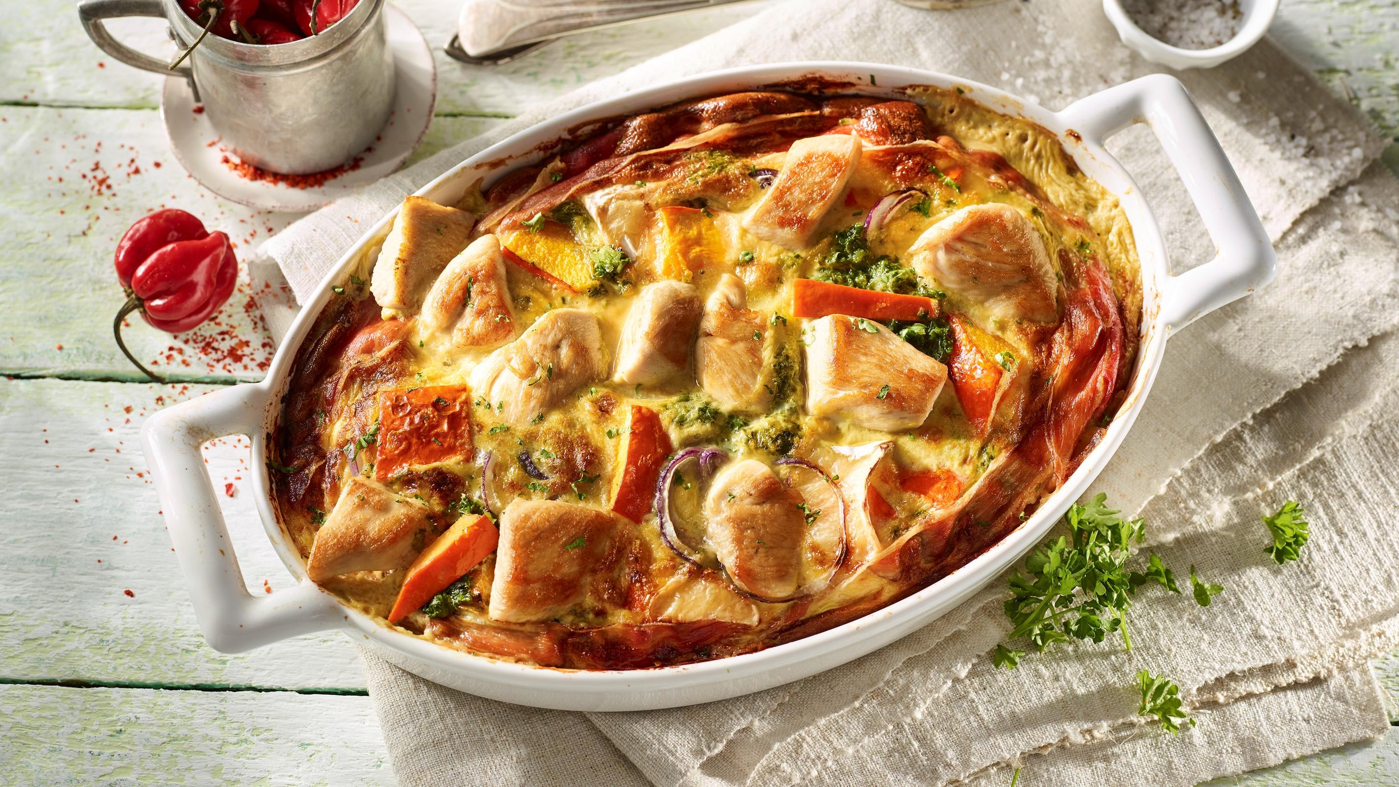 Hähnchen-Frittata mit Kürbis und Grünkohl