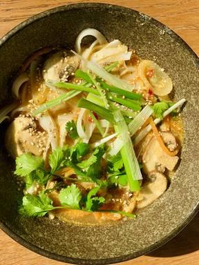Creamy tahini noodle soup