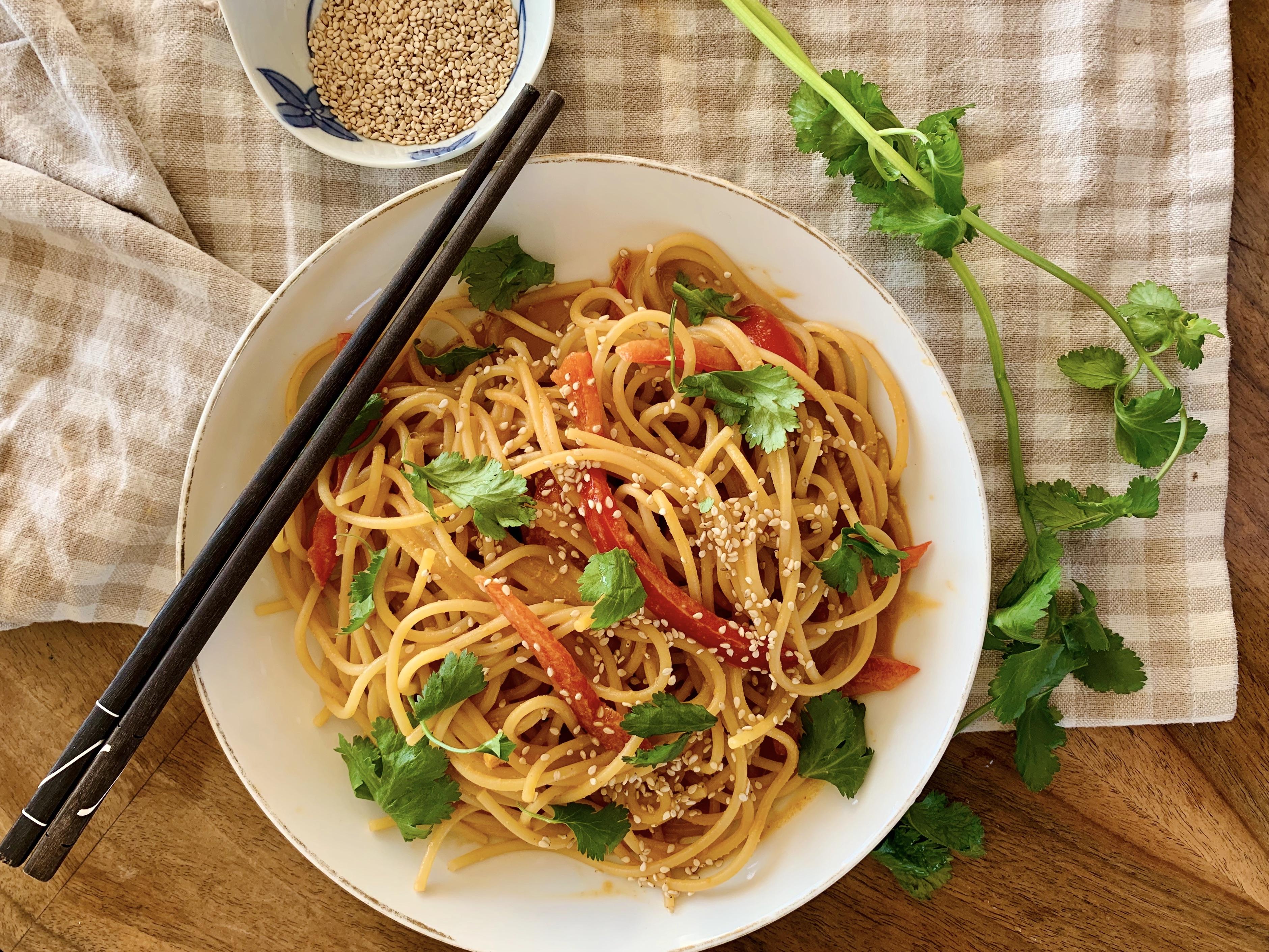 Spicy sesame peanut butter noodles