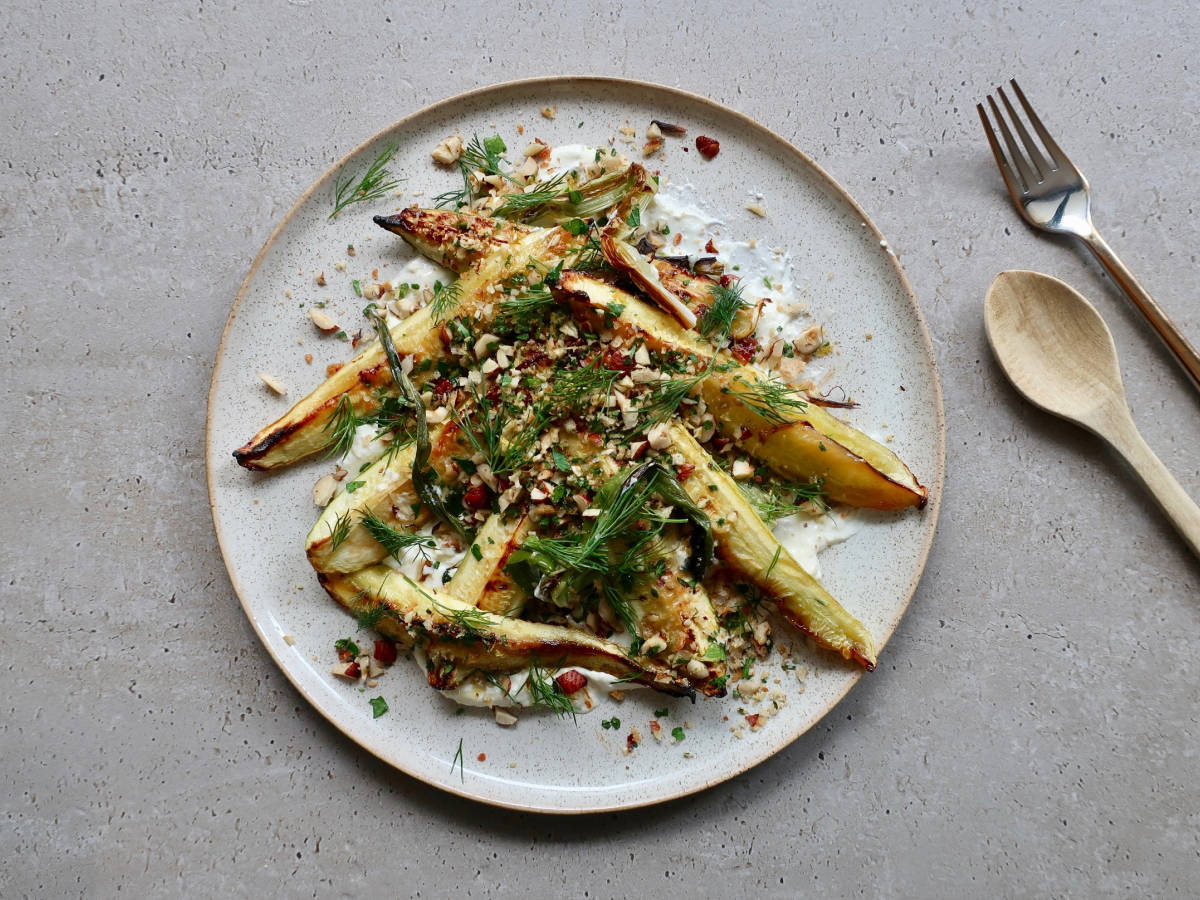 Grilled zucchini and scallions with hazelnut gremolata and ricotta