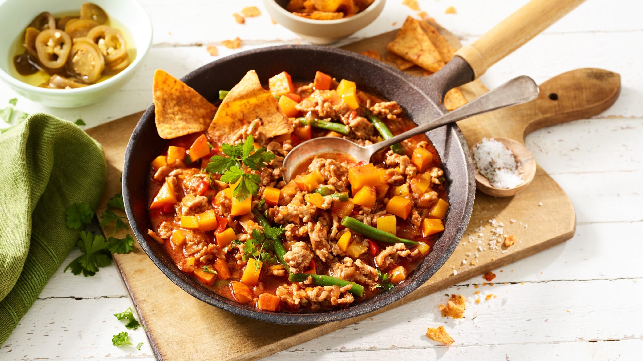 Putenhack-Chili mit Kürbis