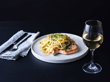 5-ingredient pork piccata with spaghetti