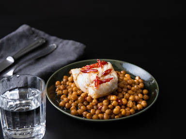 5-ingredient hot honey-glazed cod with crispy chickpeas