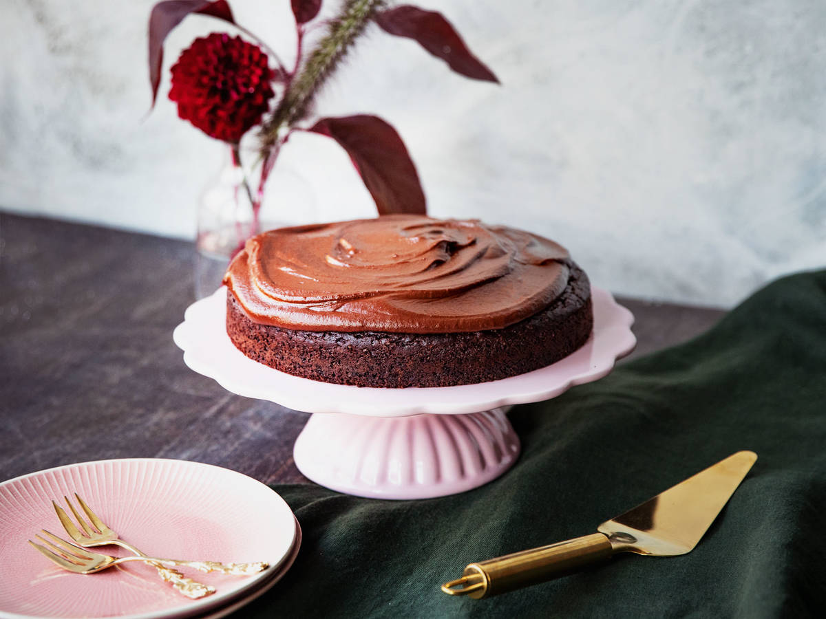 Double chocolate cake with sweet potato frosting