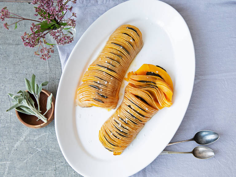 Hasselback butternut squash with sage