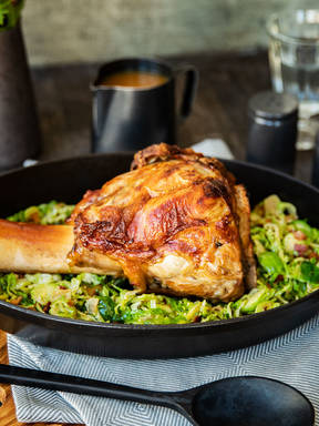 Roasted veal knuckle with shaved Brussels sprouts