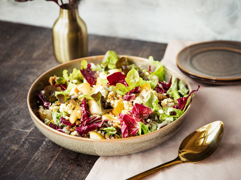 Caramelized pear, radicchio, and blue cheese salad