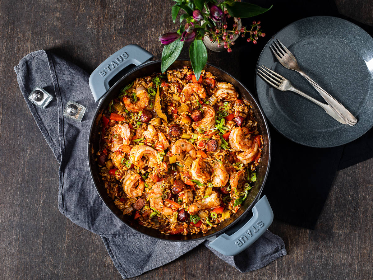 Jambalaya with shrimps and smoked sausage