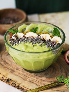 Matcha smoothie bowl with chia seeds