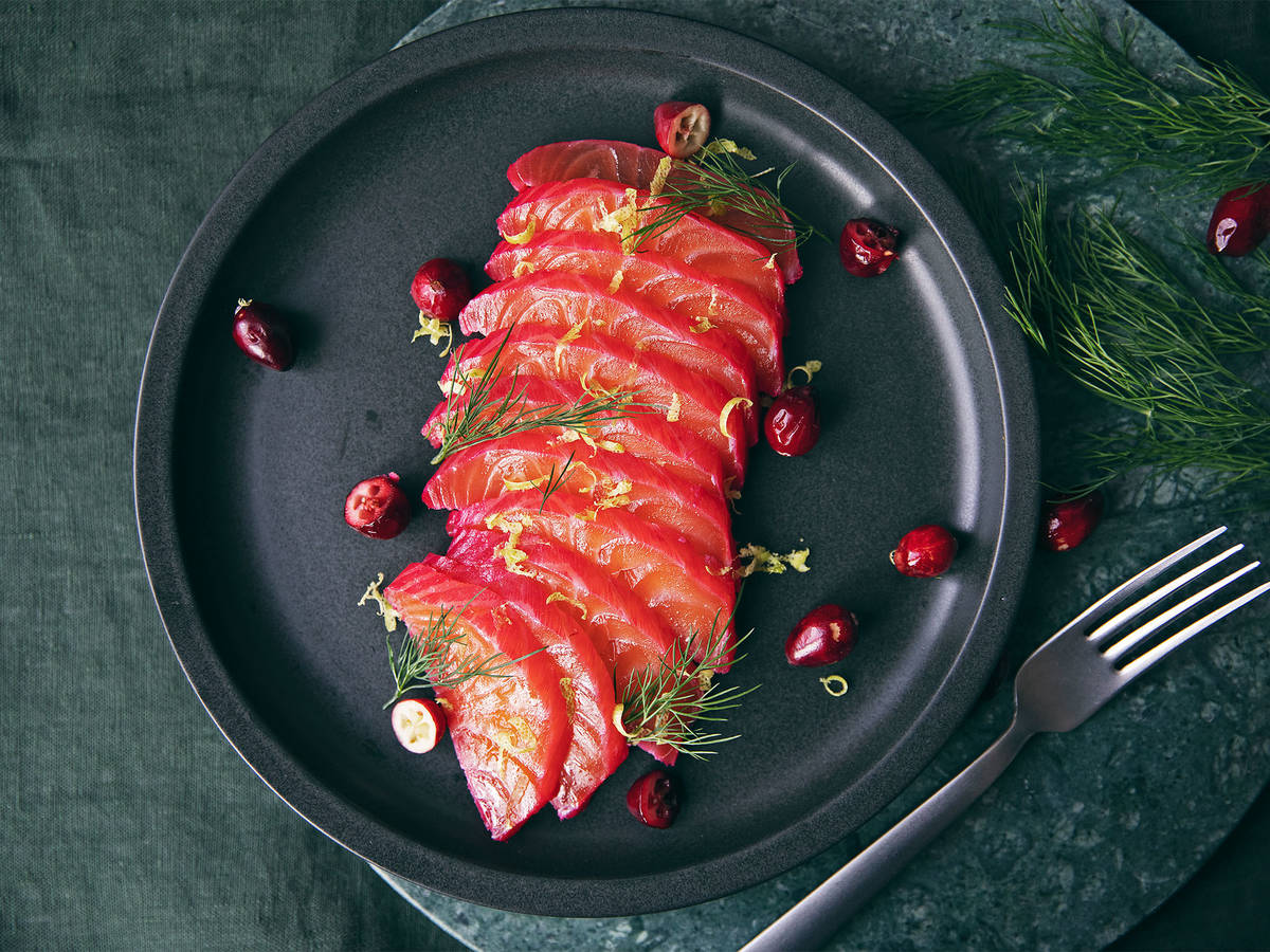 Cranberry, gin, and dill gravlax
