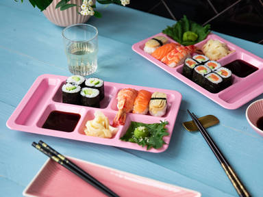 Avocado maki and salmon nigiri