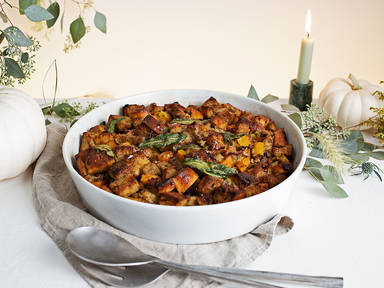 Squash and cranberry stuffing with sage butter