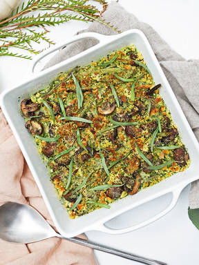 Roasted green beans and mushrooms with herbed Parmesan breadcrumbs