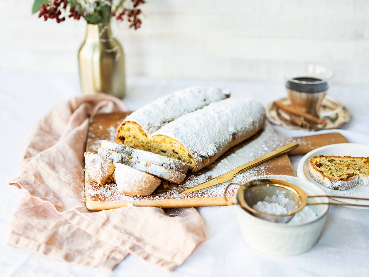 Shortcut stollen with white chocolate, pistachios, and candied mandarin