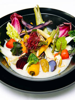 Steamed vegetables with sunchoke sauce