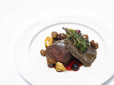 Venison saddle with crème de cassis and caramelized chestnuts