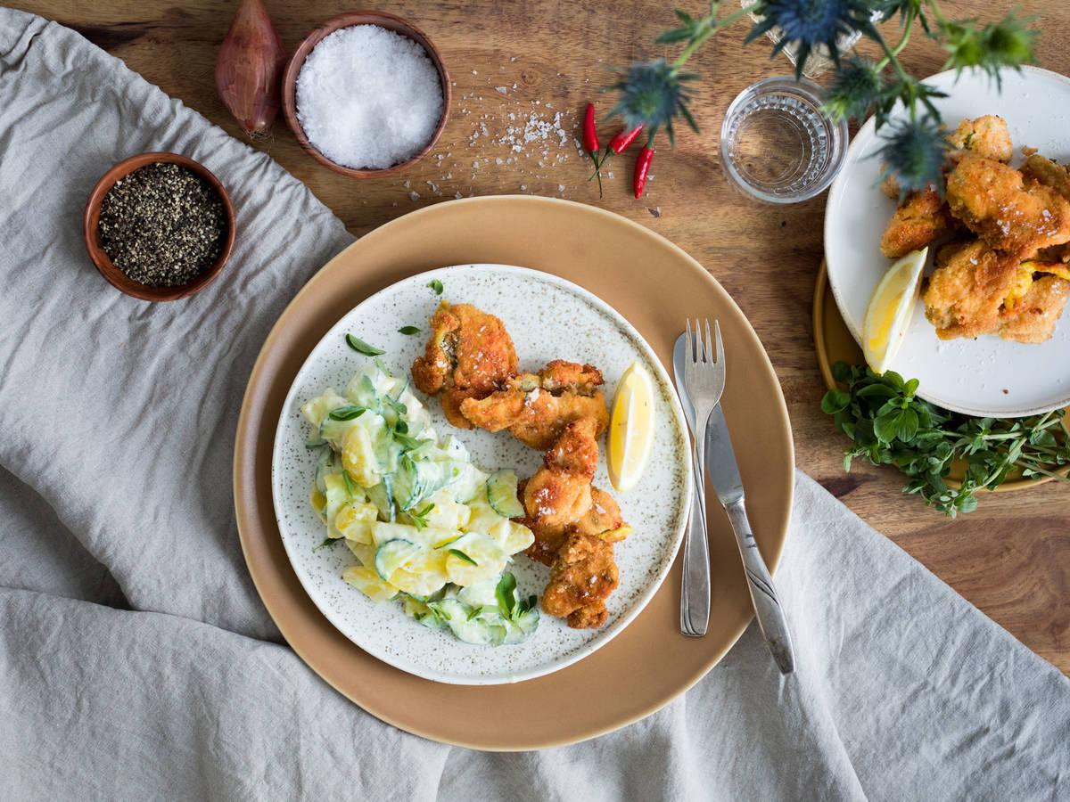 Mariniertes Hähnchen mit Wasabi-Kartoffelsalat