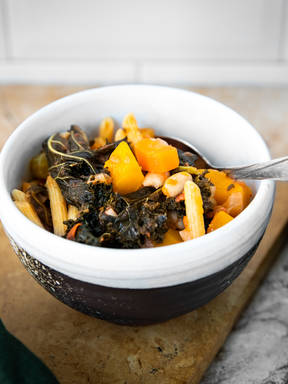 Winter minestrone with kale and pumpkin