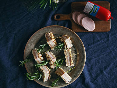 Grilled mortadella and cheese finger sandwiches with rosemary