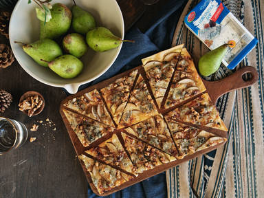 Gorgonzola, pear, and walnut tarte flambée