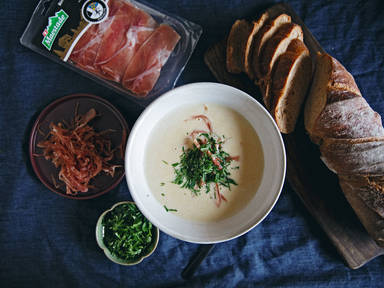 Creamy celery root and riesling soup with smoked ham