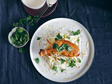 Baked chicken legs with cabbage-apple slaw and mustard dip