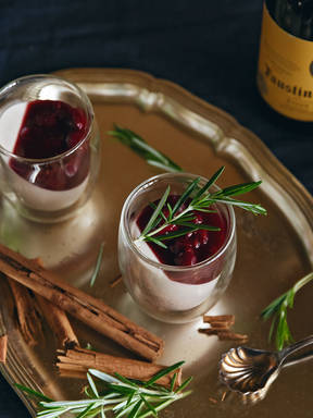 Cinnamon panna cotta with mulled wine cherries