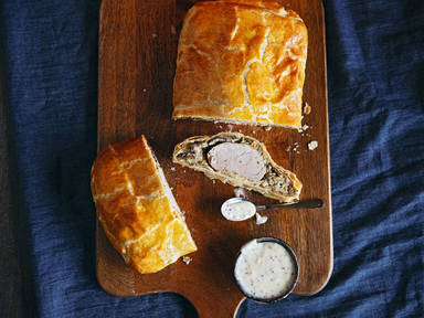 Pork and mushroom Wellington with mustard béchamel
