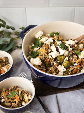 Lentil salad with roasted vegetables and feta cheese
