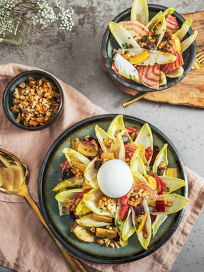 Endive, burrata, and beet salad with candied walnuts