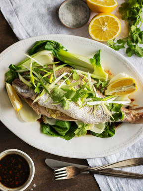 Steamed fish with bok choy