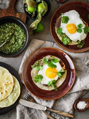 Huevos rancheros with salsa verde