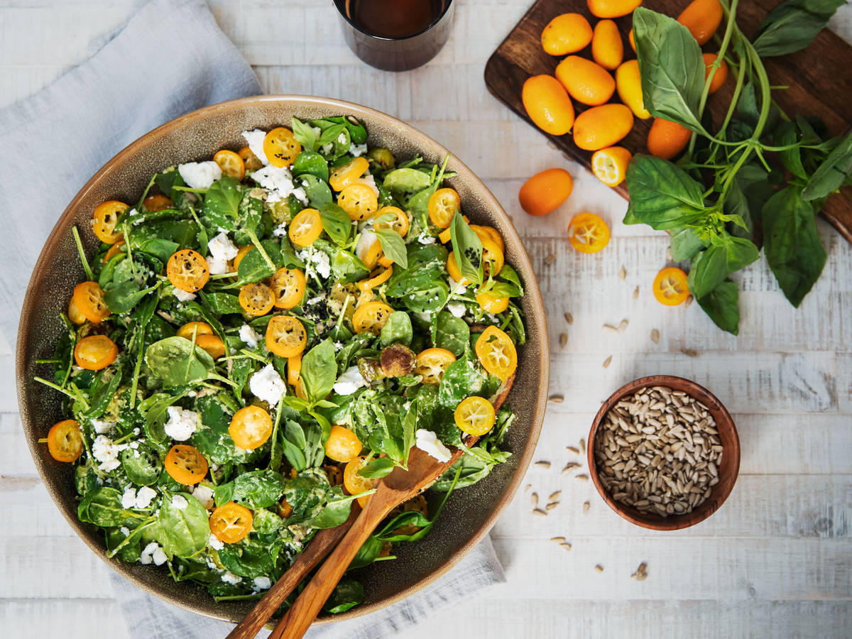 Kumquat and roasted Brussels sprout salad with avocado dressing