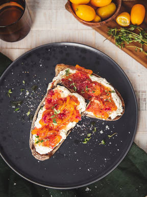 Spiced kumquat chutney and ricotta toasts