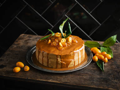 Candied kumquat and caramel cake