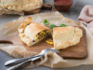 Calzone with roasted vegetables and Mozzarella