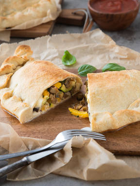 Grilled vegetable and mozzarella calzone