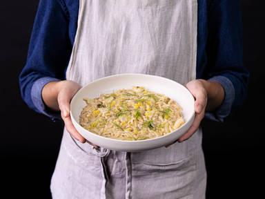 五品烩黄油茴香韭葱意式炖饭
