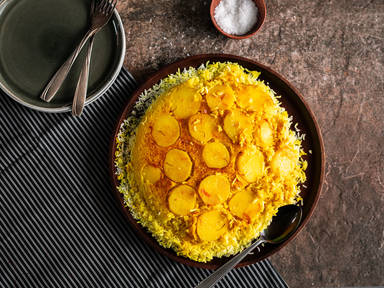 Potato tahdig (Crispy Persian rice with potatoes)