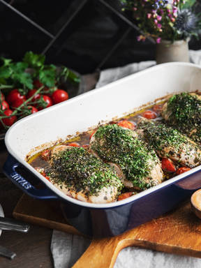 Easy baked chicken breasts with tomatoes and herbs