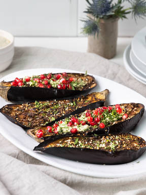 Roasted eggplant with sesame dip
