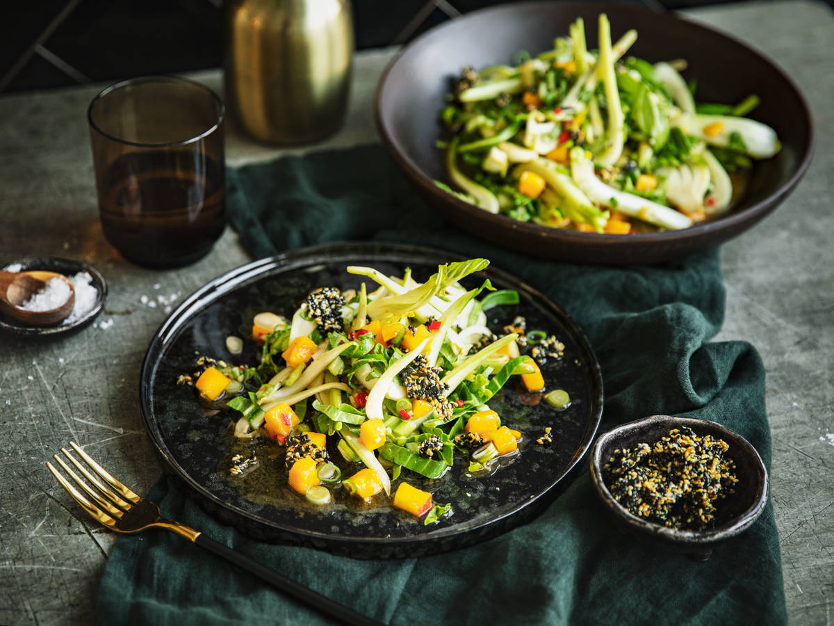 Bok choy and mango salad with miso dressing
